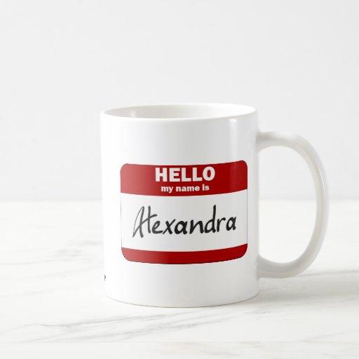 Hola mi nombre es Alexandra (rojo) Taza Básica Blanca