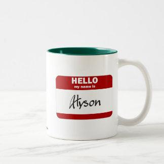 Hola mi nombre es Alyson (rojo) Taza De Café De Dos Colores