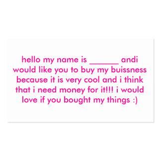 hola mi nombre es andi del _____le quisiera… tarjetas de visita