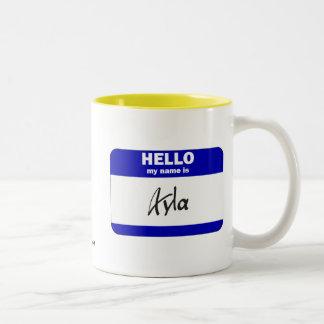 Hola mi nombre es Ayla (azul) Tazas