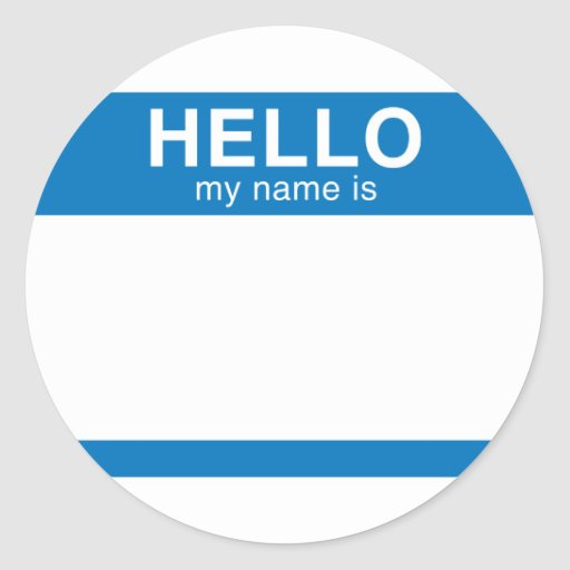 Hola mi nombre es - azul pegatinas redondas