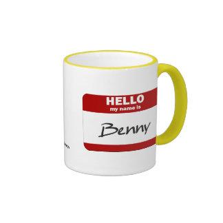 Hola mi nombre es Benny (rojo) Taza De Dos Colores