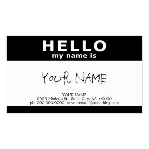 hola mi nombre es: blanco y negro tarjetas de visita