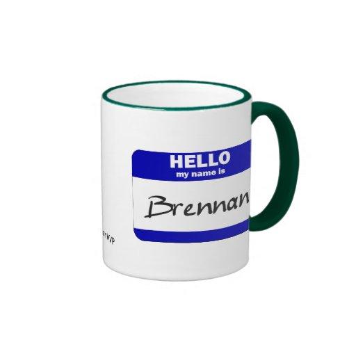 Hola mi nombre es Brennan (azul) Taza De Dos Colores