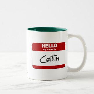 Hola mi nombre es Caitlin (rojo) Taza Dos Tonos