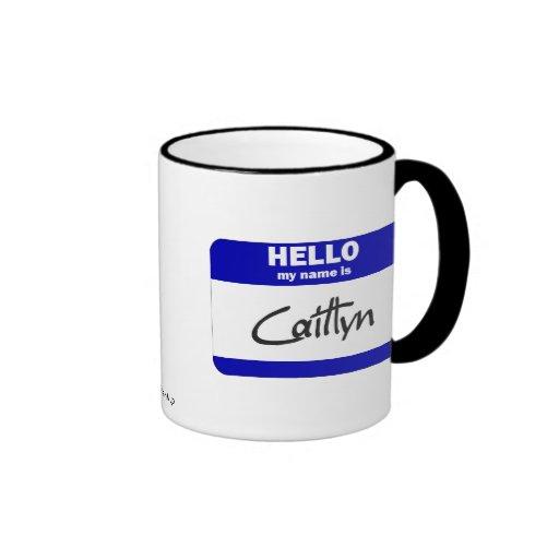 Hola mi nombre es Caitlyn (azul) Taza A Dos Colores