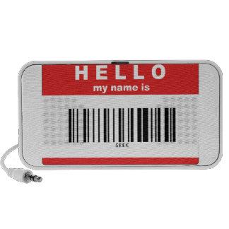 Hola, mi nombre es código de barras del friki sistema de altavoz