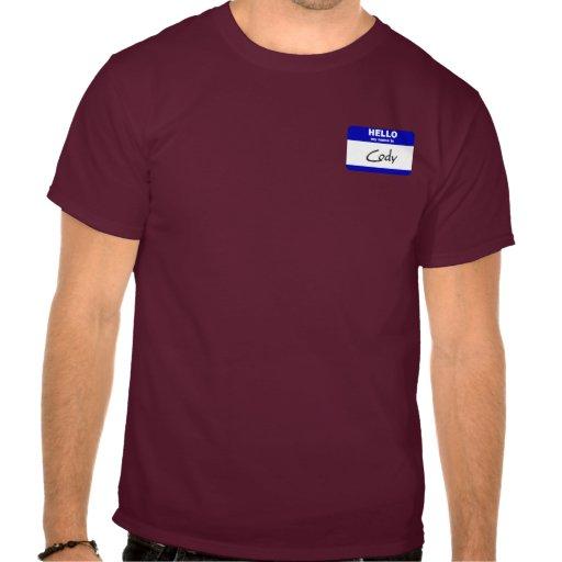 Hola mi nombre es Cody (azul) Camiseta