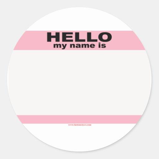 Hola mi nombre es copia ROSADA EN BLANCO Pegatinas