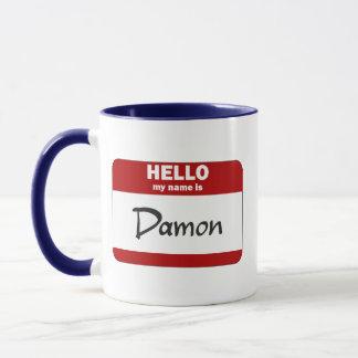 Hola mi nombre es Damon (rojo) Taza