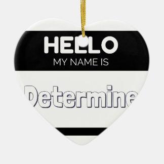 Hola mi nombre es determina adorno navideño de cerámica en forma de corazón