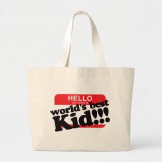 Hola mi nombre es el mejor niño del mundo bolsas lienzo