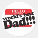 Hola mi nombre es el mejor papá del mundo pegatinas