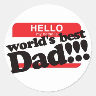 Hola mi nombre es el mejor papá del mundo pegatinas redondas