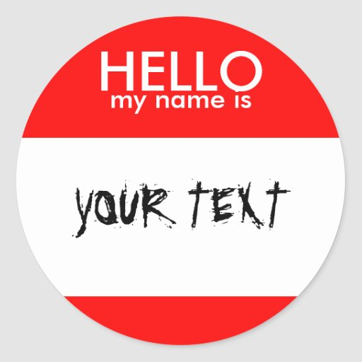 HOLA mi nombre es (el ROJO) Etiqueta Redonda