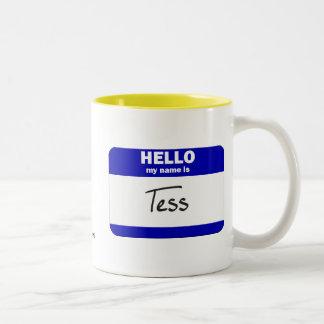 Hola mi nombre es el Tess azul Tazas De Café