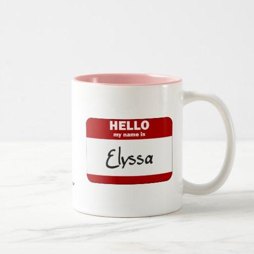 Hola mi nombre es Elyssa (rojo) Taza Dos Tonos