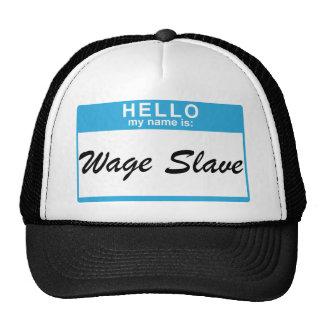 Hola mi nombre es: Esclavo del salario Gorros Bordados