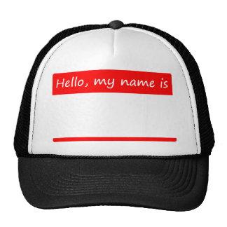 Hola, mi nombre es - etiqueta conocida gorros