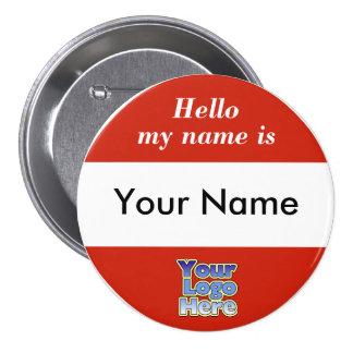 Hola mi nombre es etiqueta del botón pin