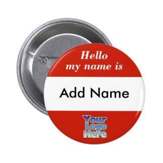 Hola mi nombre es etiqueta del botón pin redondo de 2 pulgadas