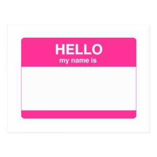 Hola, mi nombre es etiqueta tarjetas postales