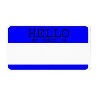 Hola mi nombre es etiquetas azules etiqueta de envío