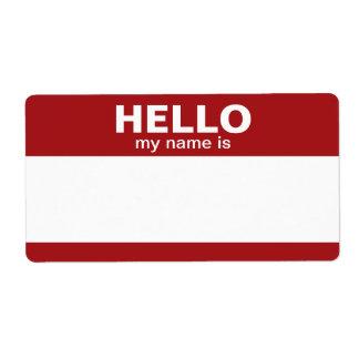 Hola mi nombre es -- etiquetas clásicas etiquetas de envío