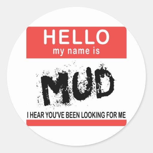 Hola mi nombre es fango etiqueta redonda