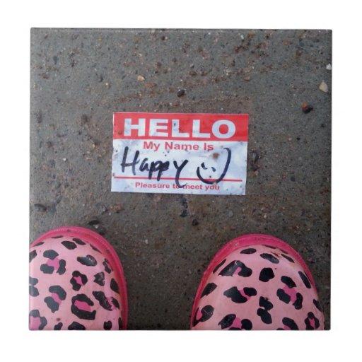 Hola, mi nombre es feliz azulejo cuadrado pequeño