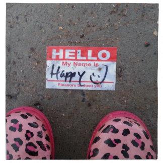 Hola mi nombre es feliz servilletas imprimidas