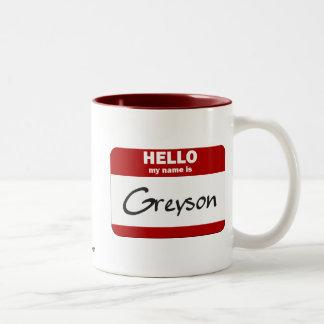 Hola mi nombre es Greyson (rojo) Taza De Dos Tonos