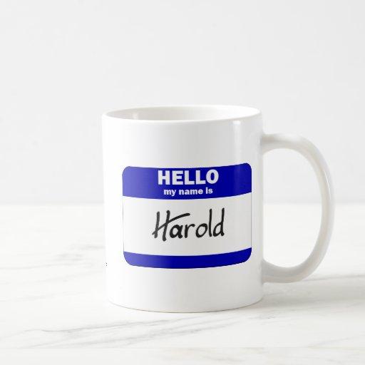 Hola mi nombre es Harold (azul) Taza Básica Blanca