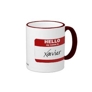 Hola mi nombre es Javier (rojo) Taza De Dos Colores
