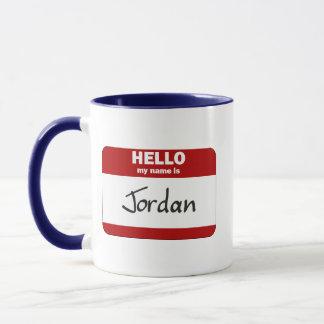 Hola mi nombre es Jordania (roja) Taza