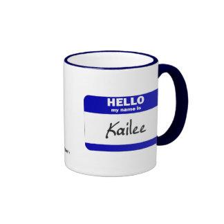 Hola mi nombre es Kailee (azul) Taza De Dos Colores