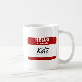 Hola mi nombre es Kate (rojo) Taza De Café