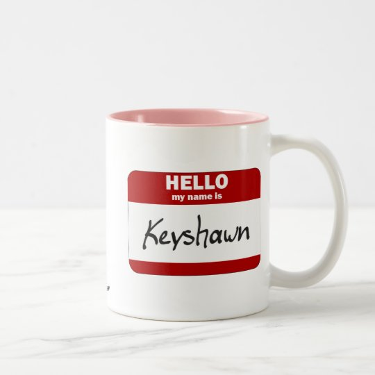 Hola mi nombre es Keyshawn (rojo) Taza De Café De Dos Colores