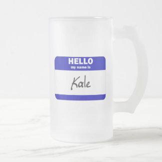 Hola mi nombre es la col rizada (azul) taza de cristal