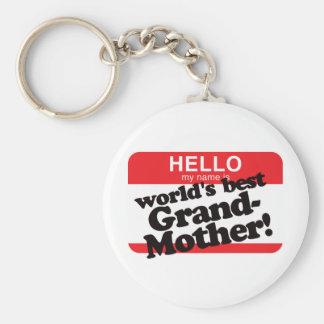 Hola mi nombre es la mejor abuela del mundo llavero personalizado