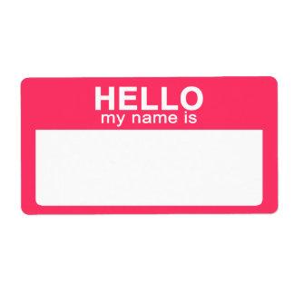 Hola mi nombre es, las etiquetas conocidas de la e etiqueta de envío