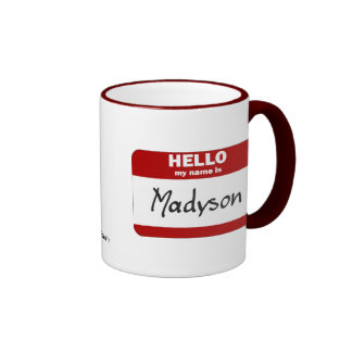 Hola mi nombre es Madyson (rojo) Taza De Dos Colores