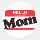 Hola mi nombre es mamá etiquetas redondas