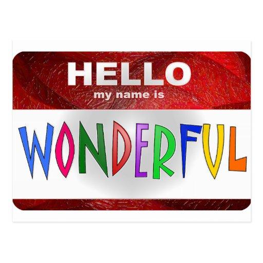 Hola mi nombre es maravilloso postal