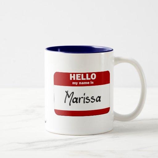 Hola mi nombre es Marissa (rojo) Taza Dos Tonos