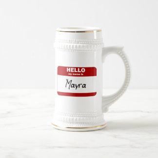 Hola mi nombre es Mayra (rojo) Jarra De Cerveza