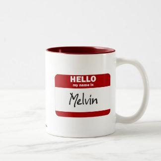 Hola mi nombre es Melvin (rojo) Taza De Dos Tonos
