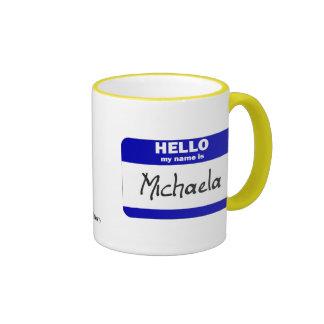 Hola mi nombre es Micaela (azul) Taza A Dos Colores