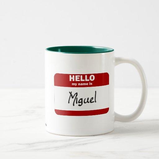 Hola mi nombre es Miguel (rojo) Taza De Dos Tonos