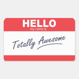 Hola mi nombre es nametag. totalmente pegatina rectangular